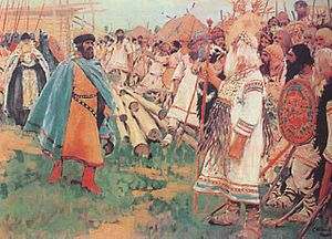 Christianity in the 6th century - Christians and Pagans, a painting by Sergei Ivanov