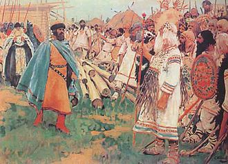 History of Christianity during the Middle Ages - Christians and Pagans, a painting by Sergei Ivanov