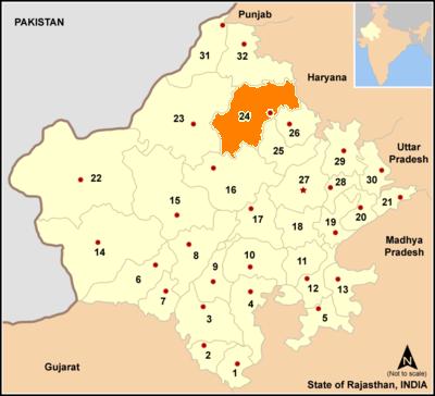 Map rajasthan dist Churu