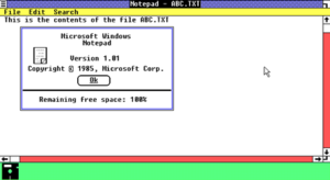 Microsoft Notepad - Microsoft Notepad 1.01 was released in 1985 as part of Windows 1.01, here shown with an open text file and the program's about box