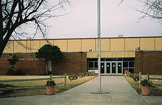 Munday, Texas - Front entrance to Munday High School