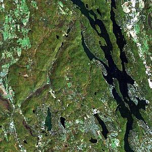 Candlewood Lake - Candlewood Lake from space (NASA photo)