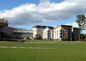 Franklin W. Olin College of Engineering - A view of Olin College. The dormitories are to the right; the Oval is straight ahead.