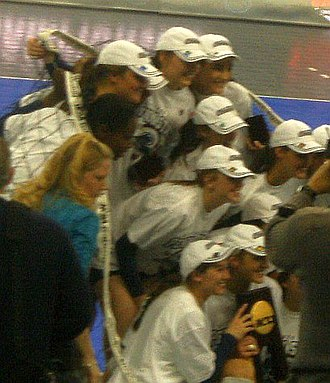 Penn State Nittany Lions women's volleyball - The Penn State volleyball team poses with the 2008 NCAA championship trophy after defeating Stanford University in the final.