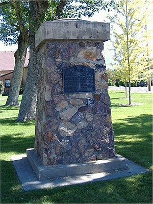 "Battle Creek massacre - Pleasant Grove City Park Monument ""in commemoration of Utah's first Indian battle..."""