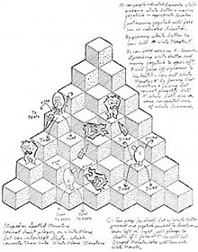 A concept sketch illustrating an earlier outline of the game. The pyramid and Q*bert's movement are already very similar to the final product, but it still shows a shooting mechanic, which was not implemented in the final game. It also shows a sole enemy type not in the final game, which differs only in its shading and orientation on the three visible sides of the cubes.