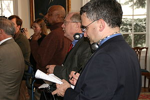 WBAL (AM) - WBAL reporter Robert Lang at a Governor O'Malley press conference in 2009