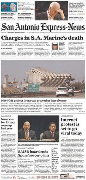San Antonio Express-News - Image: San Antonio Express News 2012