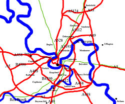 A map of Shrewsbury showing suburbs, surrounding villages, Rivers (blue), Roads (red) and Rail routes (green).
