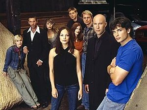 Characters of Smallville - The season four cast—(clockwise from left) Allison Mack, John Glover, Erica Durance, Jensen Ackles, Annette O'Toole, John Schneider, Michael Rosenbaum, Tom Welling and Kristin Kreuk—contains the characters who have been on the series the longest, with the exception of Ackles who left after one season.
