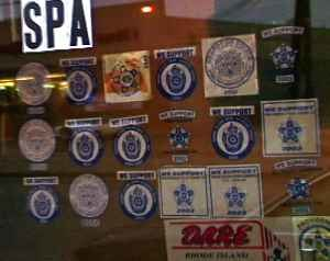 Fraternal Order of Police - Front Door of a Providence Spa with multiple Police Stickers