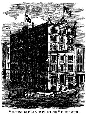 Illinois Staats-Zeitung - The massive Illinois Staats-Zeitung building constructed after the Great Chicago Fire of 1871