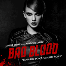 "A black-and-white portrait of Taylor Swift. She is wearing a leather suit, her hair tied back, and dark eye makeup. The song's title is printed in red, capital letters. The artists' names, ""Taylor Swift featuring Kendrick Lamar"", and the lyric ""Band-aids don't fix bullet holes"" are printed in white, smaller fonts."