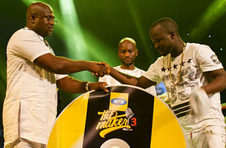 Ball J - Torgbe of Nu Afrika Records taking his award for winning MTN Hitmaker 3, National Theatre