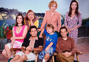 Two and a Half Men - The original cast of Two and a Half Men, from left to right: Melanie Lynskey as Rose, Conchata Ferrell as Berta, Charlie Sheen as Charlie Harper, Holland Taylor as Evelyn Harper, Angus T. Jones as Jake Harper, Jon Cryer as Alan Harper, and Marin Hinkle as Judith Harper