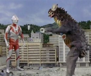 "Ultraman - Ultraman fighting the monster Gyango from episode 11, ""The Rascal from Outer Space""."