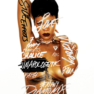 "A picture of a woman with short black hair and dark lipstick, standing in front of a white back ground her nude torso is covered in graffiti-style words such as ""Side Effects"" in black font on her arm, the rest of words are in white/grey font ""Victory"", ""Chalice"", ""Diamonds"", ""Navy"", ""7"", ""#R7"", ""Diamonds"", ""Happy"", ""Censored"", ""Love"", ""Roc"", ""Fun"", and ""Fearless"" as well as ""Unapologetic"" covering her left side nipple, she also has very thin jewelry, a pair of small earrings and two thin chains one around her neck, the other around her nude torso, also showing her tattoo of the Egyptian goddess Isis between her cleavage.[1]"