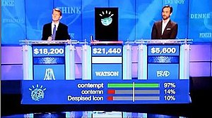Watson (computer) - Ken Jennings, Watson, and Brad Rutter in their Jeopardy! exhibition match.