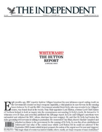"""Hutton Inquiry - The cover of The Independent when the report was released: """"Whitewash? The Hutton Report""""."""