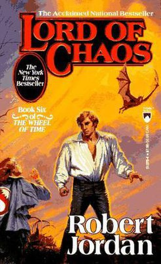 Lord of Chaos - Original cover of Lord of Chaos, showing an Aes Sedai kneeling before Rand al'Thor with a Draghkar over his shoulder