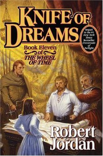 Knife of Dreams - Original cover of Knife of Dreams featuring Aram, Perrin Aybara and Gerard Arganda facing down Aes Sedai Galina Casban, with maps of Malden's area on the table.