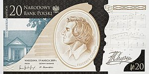 20 złotych note - The 200th anniversary of the birth of Frédéric Chopin commemorative banknote by the NBP.