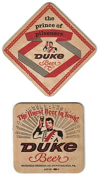 Duquesne Brewing Company - The obverse and reverse of an old Duquesne Beer coaster, showing some of the beer's branding