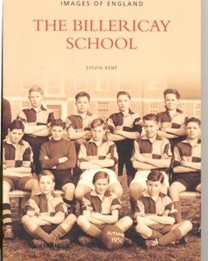 The Billericay School - A-block can be seen in the background of the front cover of Sylvia Kent's book on The Billericay School.