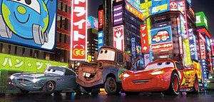 Cars 2 - Finn McMissile (left), Mater (center), and Lightning McQueen (right) driving through Tokyo for the first time.