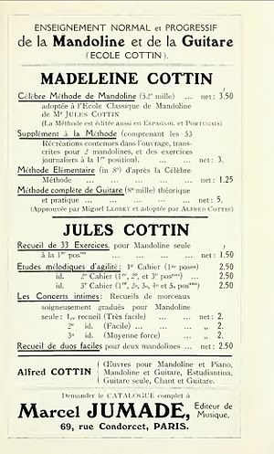 Jules Cottin - Advertisement from 1914 for the works of Jules Cottin and his siblings, Madeleine and Alfred, taken from the book The Guitar and Mandolin by Philip J. Bone.