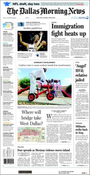 The Dallas Morning News - An example of a cover from The Dallas Morning News in 2010.