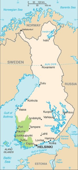 Duke of Finland - Borders of John's duchy on the contemporary map of Finland. These are the first known political borders for Finland.