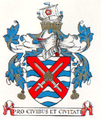 Arms granted to the borough in 1927, also formerly used as the badge of local football team Fulham