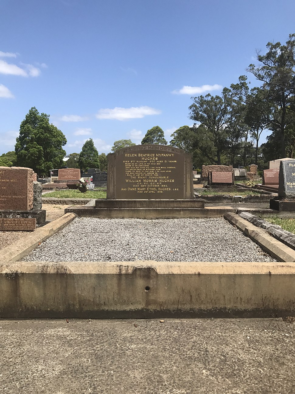 Grave of Billy and Dame Mary Hughes, 2017