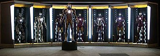 Iron Man's armor in other media - Image: Iron Man Hall of Armor