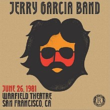 High-contrast black, orange, and red caricature of Jerry Garcia