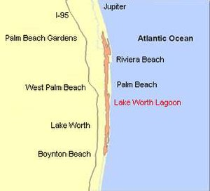 Lake Worth Lagoon - Location of Lake Worth Lagoon in Palm Beach County, Florida