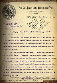 1887 Letter from Anthony Comstock to Josiah Leeds