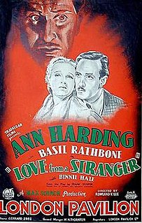 <i>Love from a Stranger</i> (1937 film) 1937 British drama film directed by Rowland V. Lee