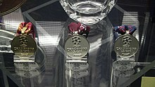 A photograph of three medals sitting on a stand. One medal is gold and two are silver.