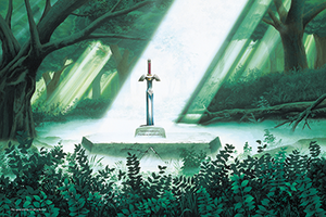 Universe of The Legend of Zelda - Artwork of the Master Sword in its pedestal from The Legend of Zelda: A Link to the Past