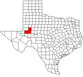 Midland–Odessa - Map highlighting the Midland–Odessa Combined Statistical Area