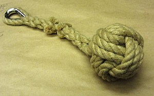 Arthur Beale - a monkey's fist with an eye splice, custom-made at Arthur Beale