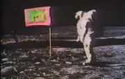 The first images shown on MTV were a montage of the Apollo 11 moon landing.