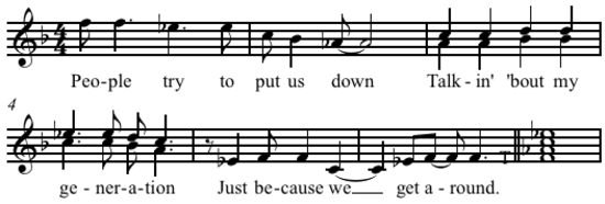"""My Generation"" vocal melody with response (Middleton 1990)"