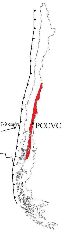 Puyehue-Cordón Caulle - Location of Puyehue-Cordón Caulle (PCCVC) in Chile