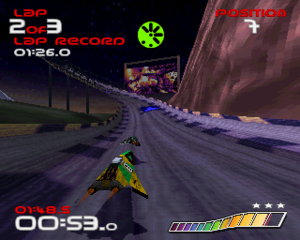 Wipeout (video game) - From left to right clockwise, the interface displays the number of laps, current weapon, race position, speedometer, and lap time.