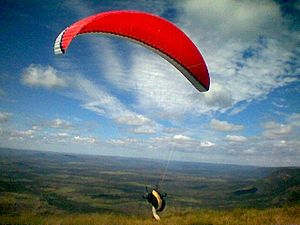 Paraglider take-off in Brazil