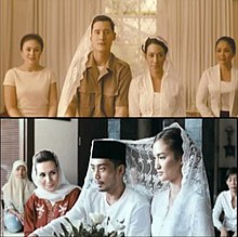Two screenshots from the film, showing Ishak Pahing (Nino Fernandez) at his marriage to Nani Kuddus (Imelda Soraya); bottom is Sakera (Yama Carlos) at his marriage to Maida (Atiqah Hasiholan). Both are in a Muslim manner