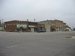 Fonda, Iowa - East side of Main Street in Fonda including local businesses, the senior citizen's center, and the Fonda Museum. Unlike the opposite side of the street, this block has remained largely intact during Fonda's depopulation.
